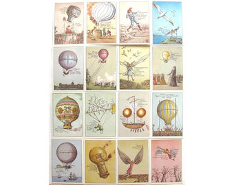 History of aeronautics, Set of 16 Soviet Unused Postcards, Air Balloon, Illustration, Lyubarov, 1988