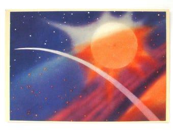 Space, Unused Postcard, Near blue sun, Painting, Sokolov, Illustration, Unsigned, Rare Soviet Vintage Postcard, USSR, 1965
