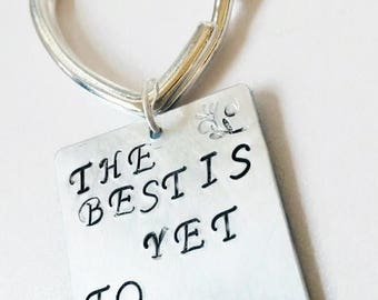 XMASINJULY The best is yet to come, inspirational quote, inspirational keychain, heart keychain, typography keyring, handstamped jewelry, mo