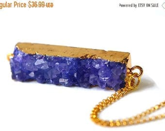 XMASINJULY Purple Druzy Necklace - Gold Druzy Necklace - Amethyst Necklace -  Bar Necklace - Choker Necklace - Drusy Pendant - Gemstone Neck