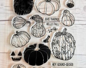 Gourd stamps, pumpkin stamps, halloween stamps, fall stamps, halloween planner, October Daily album, halloween cards, Starving Artistamps