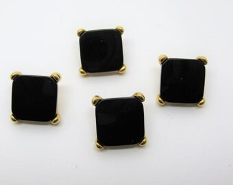 Set of 4 buttons in gold metal and plastic 12mm shiny black - ref 7 d
