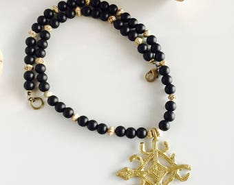 Africa Inspired Long Genuine Onyx and Brass Men's Necklace
