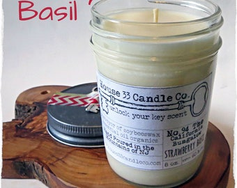 Strawberry Basil hand poured soy beeswax candle scent No. 94 The California Bungalow | fragrance infused organic essential oils, mason jar