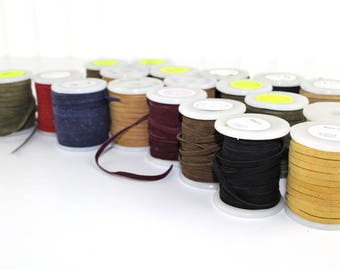 Assorted of Suede Ribbon 3.5mm Full Rolls Complete Lot