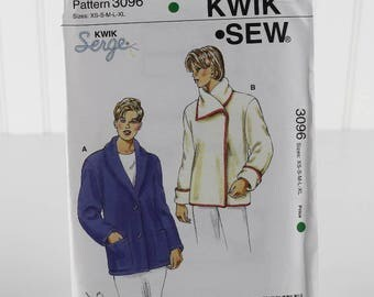 Casual Fleece Jacket Sewing Pattern, Uncut Sewing Pattern, Kwik Sew 3096, Size XS-XL