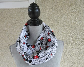 Fabric scarf, Infinity scarf, tube scarf, eternity scarf, loop scarf, long scarf, Mickey Mouse, circle scarf, Classic Mickey, Classic Disney