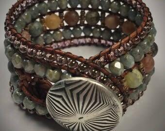 5 Row Beaded Cuff, Boho Bracelet, Beach, Beach Stones, Cowgirl, Western, Gypsy, Bold Jewelry