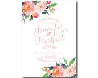 Floral Wedding Invitation, Wedding Invitation with Flowers, Watercolor Floral, Floral Wedding, Watercolor Flower, Wedding Invitation #CL251