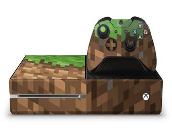 Block World Pixel - Xbox One Console Controller Vinyl Skin Wrap Decal Sticker Wrapping Film Pattern Video Games Gaming Xbox One Game