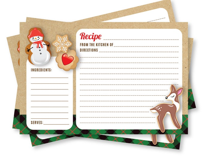 Recipe Card, Holiday Cookie Party, Cookie Exchange, Cookie Swap, Cookie Decorating Party, Printable Cookie Recipe Card, Instant Download