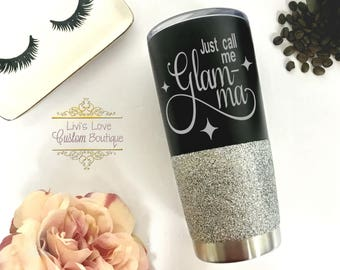 Glamma Coffee Travel mug - Glitter Glam-ma cups - Gift for Grandma - 20 oz Stainless Steel Coffee to go Cup - Mother's Day Gifts for Glammy
