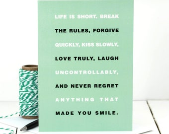 Mae West Quote Card; Life Is Short Quote; Inspirational Quote Card; Card For Friend; Friendship Card; GC462