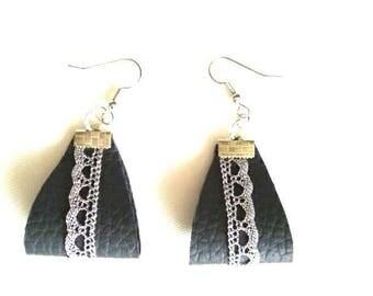 dark grey leather silver lace earrings