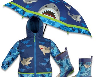 3 Pieces Set Stephen Joseph Shark Rain Gear, Umbrella, Rain Coat and Rain Boots.