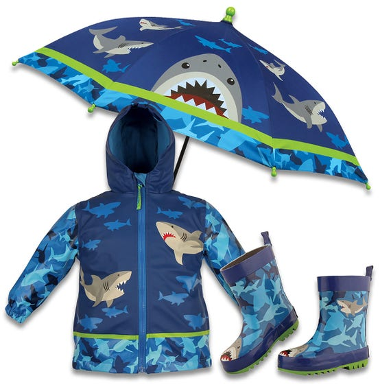 3 Pieces Set Stephen Joseph Shark Rain Gear, Umbrella, Rain Coat and Rain Boots.