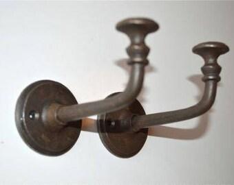 A pair of cool large industrial cast iron coathooks door hanger coat hook ALR1
