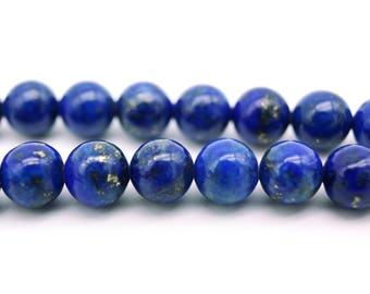 Round Lapislazuli Real Gemstone Beads 6mm - 10 beads or 1x 16'' strand (approx. 70 beads)