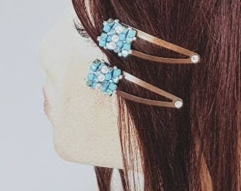 Fabulous Turquoise Crystal Hair Snap Clips<>Turquoise On Coffee/Brown Clips<>Opaque Swarovski Crystal<>Always Trending<>Good Quality Clip<>