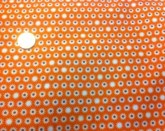 White flowers orange pattern cotton fabric sold by 10cm