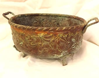Copper bowl with patina
