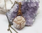 Wire Wrapped SELENITE DESERT ROSE Necklace Handmade Jewelry Healing Crystal Jewelry The Stone Fairy Jewelry Wicca Bohemian Jewelry sdr51