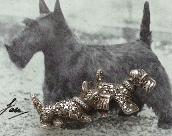Vintage Silver and Marcasite Scottie and Terrier Brooch