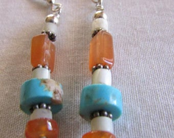 Turquoise, Carnelian and Mother of Pearl Dangle Wire Earrings