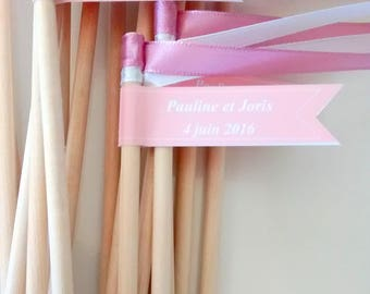 20 sticks, ribbons, personalized with message