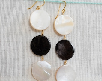 Mother of pearl, three stone drop earrings