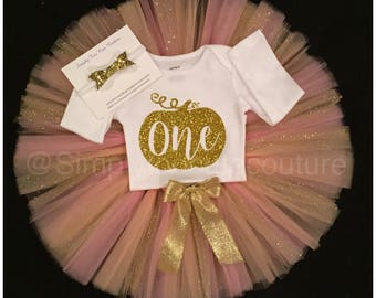 Girl's birthday outfit- Girl's birthday tutu- fall birthday outfit- fall birthday tutu-tutu-pink tutu-pumpkin birthday outfit- one-1st