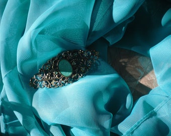 scarf jewelry brooch turquoise veil / bronze.