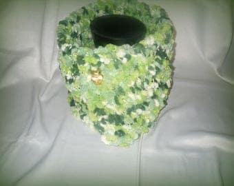 fancy woolen scarf velvety green gradient