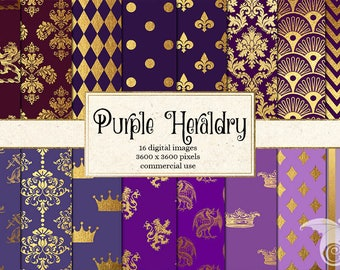 Purple Heraldry Digital Paper, Purple and Gold Crowns, Medieval Damask Heraldic Crests Backgrounds, Instant Download Commercial Use