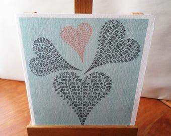 Square card 15cm x 15cm heart I love you - textured cardstock 15cm x 15cm