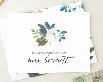 Thank You From The Future Mrs. Wedding Card. Wedding Thank You Cards. Blank Thank You Cards. Floral Soon To Be Mrs. Thank You Notecards MRS8