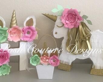 Unicorn Piñata Gift Set/ Unicorn Centerpiece/ Unicorn First Birthday/ Unicorn Photo Prop/ Unicorn Bridal Shower/ Unicorn Baby Shower