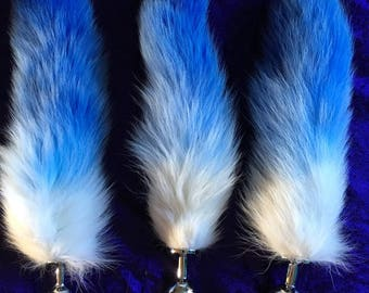 fox tails soft synthetic fur tail red and white or blue and white S / M / L