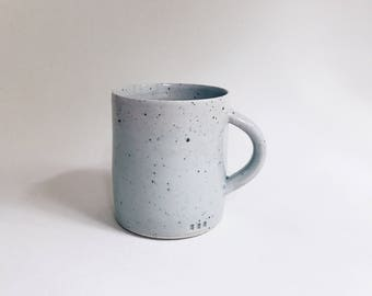 sea green mug, large pale green stoneware + porcelain blend coffee cup, minimalist pastel pottery mug, big recycled clay mug with speckles