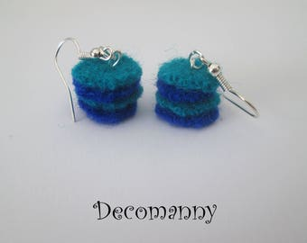 Cobalt blue and turquoise felt earrings