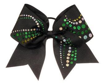 Black and Green Cheer Hair Bow
