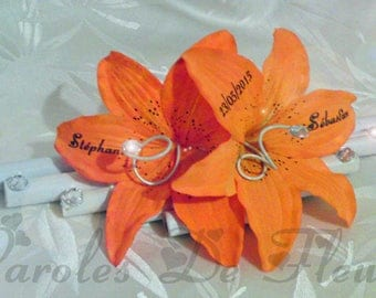 Wearing orange and white wedding ring, bamboo, diamonds and artificial customize Lily