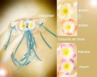Garter turquoise customize frangipani flowers