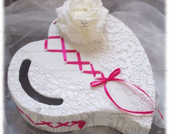wedding corset and lace with pink artificial customize heart urn