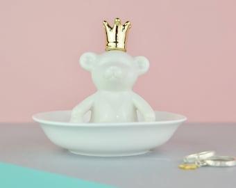 Personalised Jewellery Dish - Teddy Bear - Ring Dish - Trinket Dish - Personalised gift for Girls - Jewellery Storage - Crown - Ceramic Dish