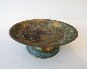 Vintage Indian Metal Soap Dish, Made in India Decorative Pedestal Bowl, Shallow Bowl, Aged Patina, Decorative Pattern, Cottage Boho Chic