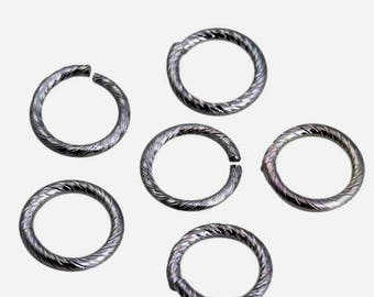 Set of 100 large engraved silver rings open 15 mm