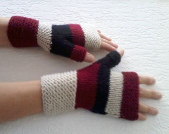 Original Mittens with Thumbs Hand Knitted