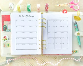 Challenge Printable A5 Filofax A5 Inserts Planner Fitness Journal A5 Workout Tracker Filofax Planner Health Planner Self Care PDF
