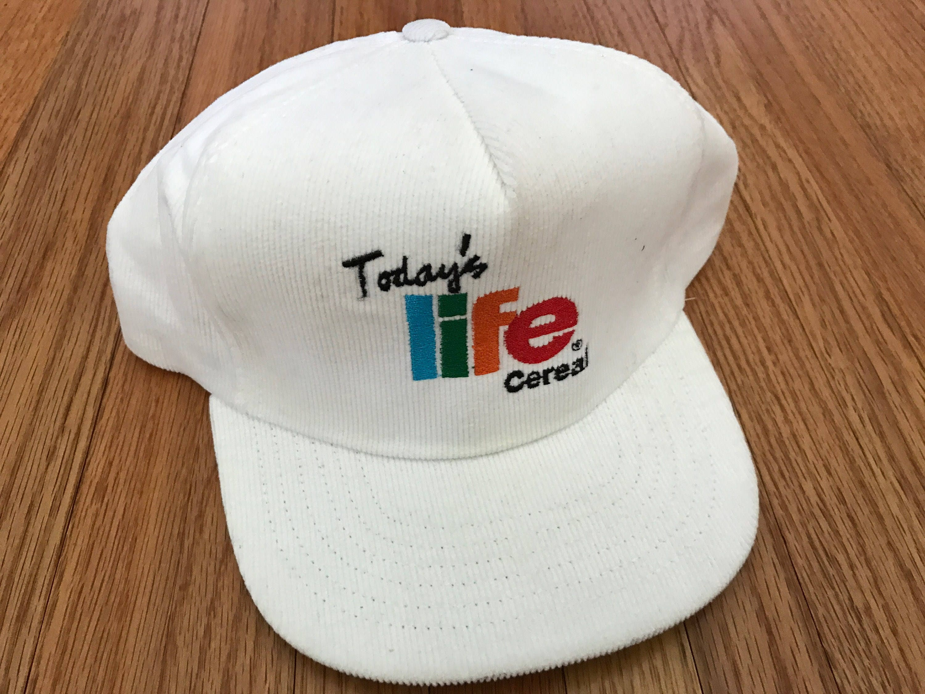 61a8254ac09 Vintage 80s Today s Life Cereal White Corduroy Snapback Hat